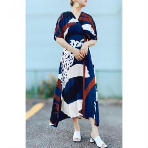 DAZZLE・Print Cache Coeur Long Dress(navy)