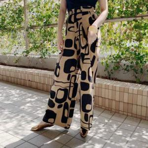 Manic Monday・Print Linen Pants(brown)