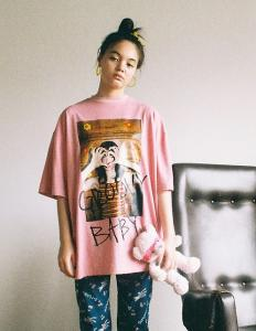 GROOVY BABY PHOTO BIG TEE(Pink)