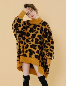 LSB ORIGINAL LEOPARD BOMBER KNIT DRESS