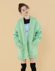 One color cardigan(green)