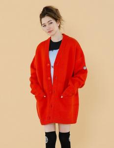 One color cardigan(orange)